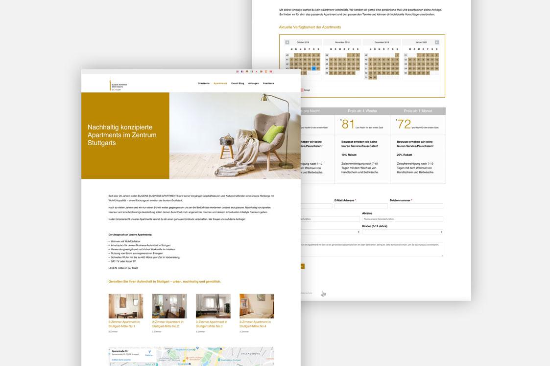 Eugens Business Apartments Stuttgart Webseite