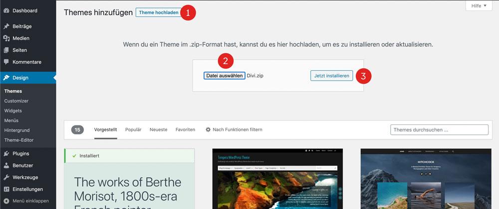 Divi Theme in WordPress installieren