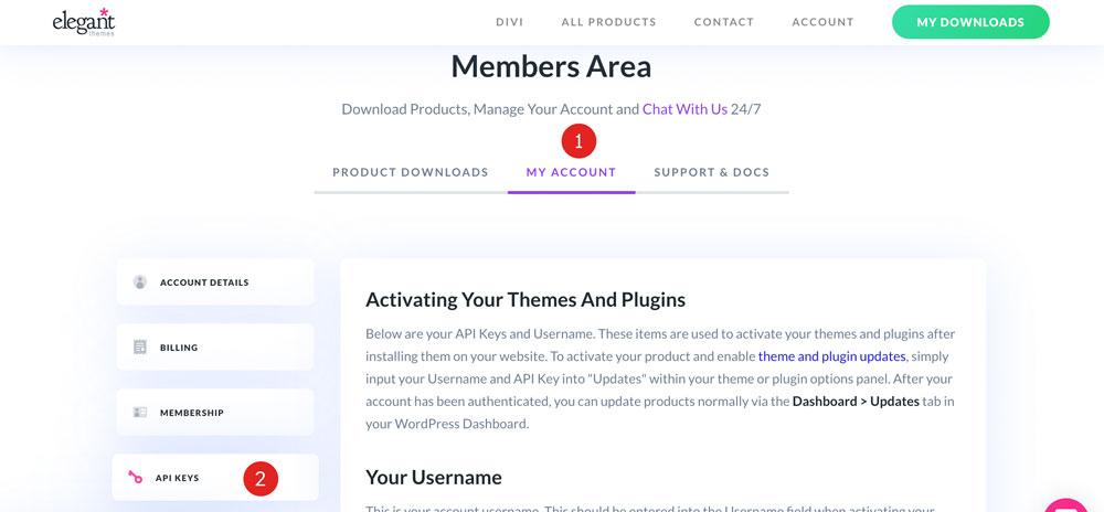eleganttheme Members Area API Key